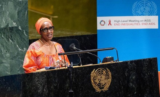 Winnie Byanyima, Executive Director of the Joint UN Programme on HIV/AIDS (UNAIDS), addresses the High-Level General Assembly meeting on HIV/AIDS.