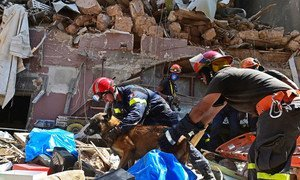 Search and rescue team combs rubble in Beirut after a blast on 4 August 2020.
