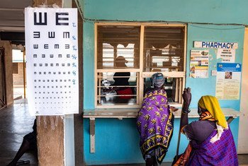 Kakuma, Kenya - 26 March, 2018: Patients at the Pharmacy of Kakuma Mission Hospital. This hospital in Northern Kenya is one of the few facilities in the region of Turkana where patients can have ophthalmologic consultation and eye related operations.