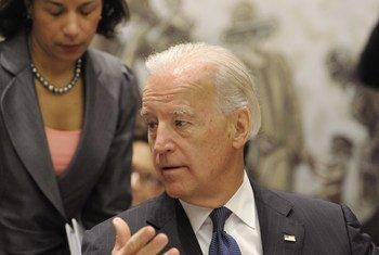 2010年,时任美国副总统的拜登主持联合国安理会有关伊拉克问题的会议。