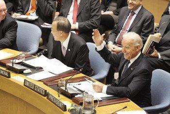 El presidente electo de Estados Unidos, entonces vicepresidente Joe Biden, en el Consejo de Seguridad de la ONU.