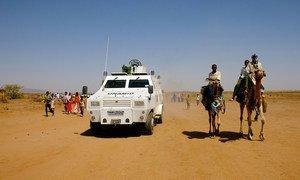 The African Union-United Nations Hybrid Operation in Darfur (UNAMID) patrols Shangil Tobaya in North Darfur, Sudan.