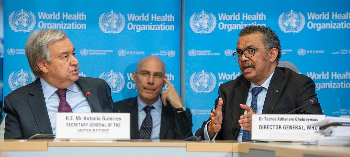 UN Secretary-General António Guterres (left) with WHO Director-General Tedros Adhanom Ghebreyesus at a briefing in Geneva. (file)