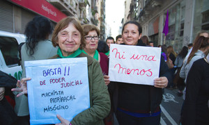 Female protesters take to the streets of Argentina.