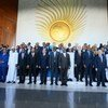 Le Secrétaire général des Nations Unies, António Guterres, avec les chefs d'État lors du sommet de l'Union africaine à Addis-Abeba, Éthiopie, le 9 février 2020.