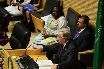 Le Secrétaire général des Nations Unies, António Guterres, s'adressant au Sommet de l'Union africaine à Addis-Abeba (Éthiopie), le 9 février 2020 (archive).