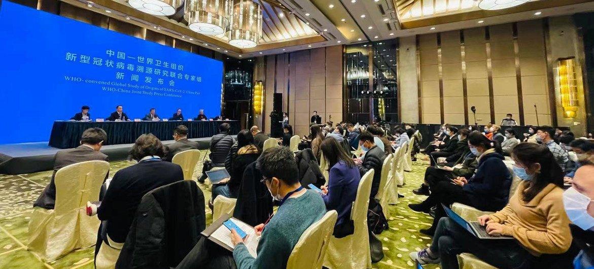 Los científicos de la Organización Mundial de la Salud durante la conferencia de prensa de hoy en Wuhan, China.