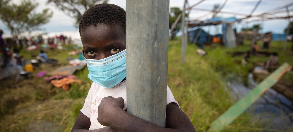 A young boy in Sofala Province, Mozambique.  Families were temporarily rehoused at a relocation centre after their homes were destroyed by Cyclone Eloise in January.