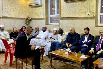 Special Adviser on the Prevention of Genocide, Adama Dieng, and Special Adviser and Head of the United Nations Investigative Team to promote accountability for crimes committed by Da'esh/ISIL in Iraq, Karim Khan speak to Baba Sheikh, Yazidi Supreme Spiritual Leader.