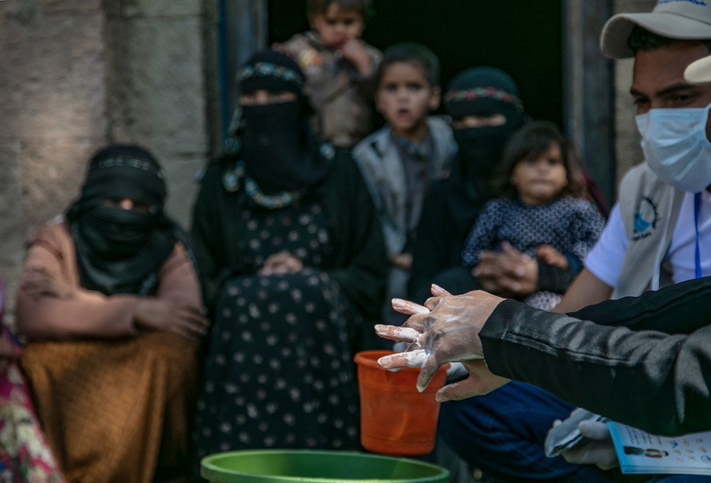 L'UNICEF encourage le lavage des mains au Yémen.