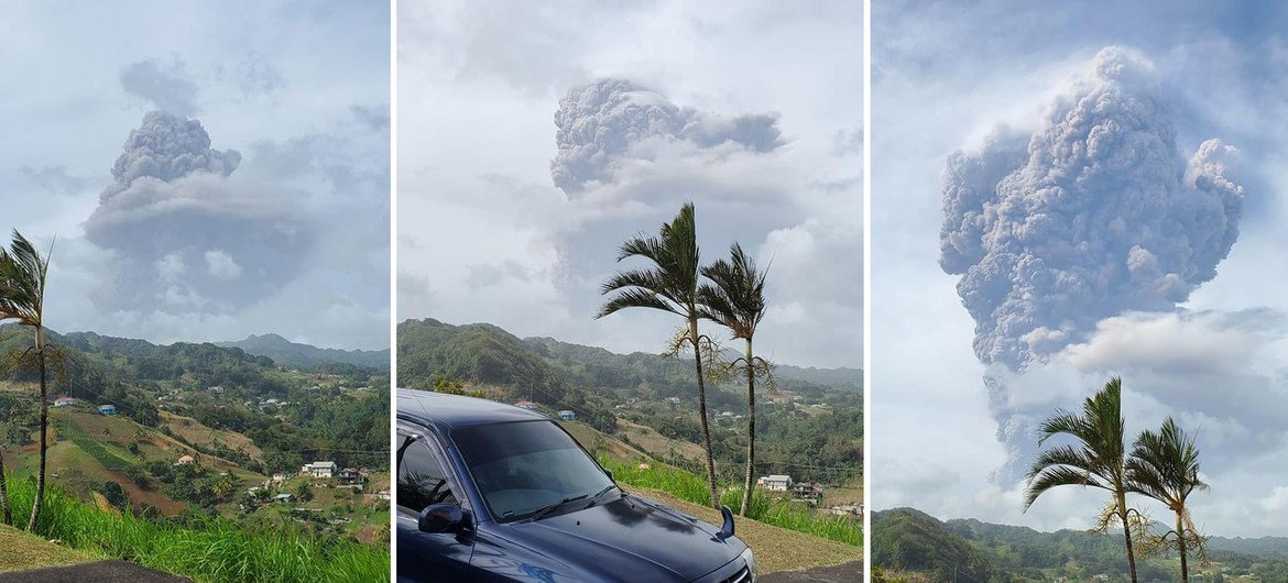 Plumes of ash billow from the La Soufriere volcano on the island of St. Vincent and the Grenadines which started erupting on 9th April.