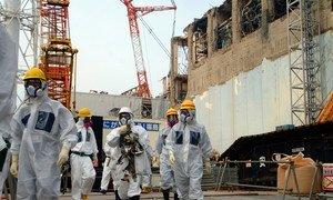 国际原子能机构工作人员查看福岛第一核电站4号反应机组。