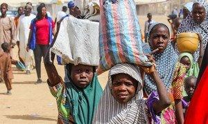 Watoto katika kambi ya wakimbizi wa ndani iliyoko Maiduguri, Borno, Nigeria