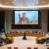 فاتو بنسودا المدعية العامة للمحكمة الجنائية الدولية، تقدم إحاطة إلى مجلس الأمن بشأن الحالة في السودان وجنوب السودان (عبر دائرة تلفزيونية مغلقة).