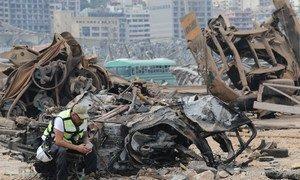 黎巴嫩贝鲁特破坏爆炸现场破坏严重。