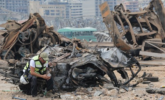 An emergency responder at the severely damaged blast site in Beirut, Lebanon.