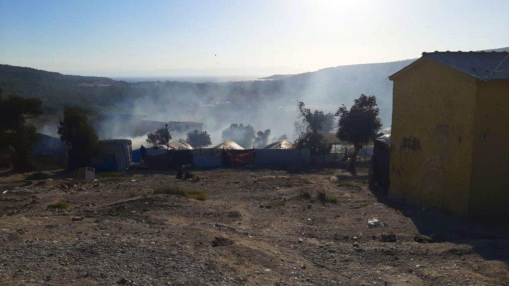 Des dégâts causés par un incendie au centre d'enregistrement et d'identification du camp de demandeurs d'asile de Moria, sur l'île de Lesbos, en Grèce.