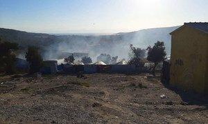 希腊莱斯沃斯莫莉亚难民营登记和身份识别中心发生火灾。