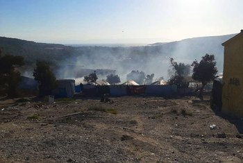Fire damage at the Registration and Identification Centre at Moria Refugee Camp in Lesvos, Greece.