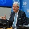 Volkan Bozkir, Président de la 75e session de l'Assemblée générale des Nations Unies, devant la presse.