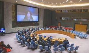 Leila Zerrougui (on screen), Special Representative of the Secretary-General and Head of the UN Organization Stabilization Mission in the Democratic Republic of the Congo, briefs the Security Council.