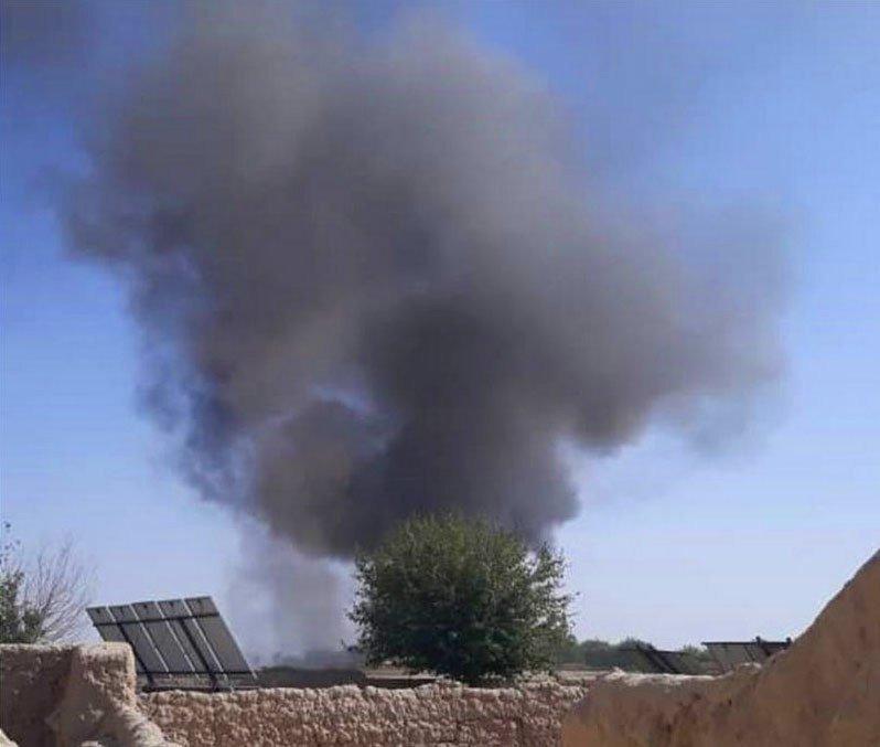 Foto de un bombardeo en el distrito de Bakwa, en Afganistán.