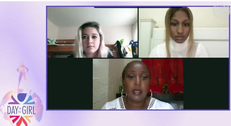 Celebrating the International Day of the Girl, Molly (left) and Oumou (right) participate in a virtual discussion with UNFPA's Nafissatou Diop on divsersity and inclusion.