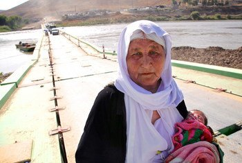 Holding a 13-day-old infant, an elderly Yazidi woman who fled Sinjar Mountain re-enters Iraq from the Syria. (file)