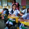 Young girls in a classroom in Sri Lanka.