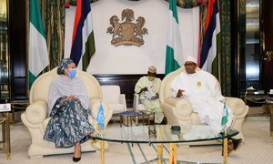 Amina Mohammed, UN Deputy Secretary-General (left), meets the Nigerian President Muhammadu Buhari in the capital, Abuja.