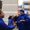 السيدة أمينة محمد تلتقي موظفي وطالبات مدرسة النزهة الابتدائية للبنات حيث تواصلت مع مجموعة من الطلبة الذين يمثلون البرلمان المدرسي لمدارس الأونروا في منطقة شمال عمان.