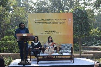 UNDP's flagship publication Human Development Report 2019 released in New Delhi by Ms. Shoko Noda, UNDP Resident Representative in India (centre), Mr. Swastik Das, UNDP Development Economist (right) and Ms. Alka Narang, UNDP Adviser, Gender and Social Inclusion (left).