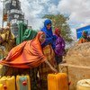 An IOM supported piped water supply project in a displaced persons camp in Dolow, Somalia. IOM, WFP and other agencies were able to cover the urgent needs of the displaced people in this camp thanks to the support of UNCERF.
