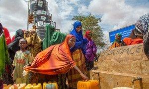 国际移民组织支持索马里一个流离失所者营地的管道供水项目。由于中央应急基金的支持,移民组织、粮食计划署和其他机构能够满足该营地流离失所者的迫切需要。