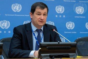 Дмитрий Полянский на пресс-конференции в ООН, 2019 г.