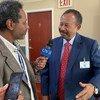Le nouveau Premier ministre soudanais, Abdalla Hamdok, accorde un entretien à ONU Info après la cérémonie de signature du mémorandum d'accord avec la Haut Commissaire des Nations Unies aux droits de l'homme.