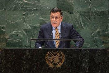 فايز مصطفى سراج، رئيس المجلس الرئاسي الليبي لحكومة الوفاق الوطني يخاطب الجمعية العامة فايز مصطفى سراج