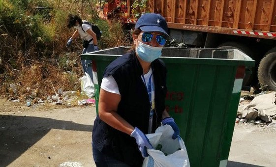 Mona Fattah volunteers to help clean up one of Beiruts streets.
