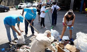 UNICEF team, including Mohamad Saleh, removing the debris from Medawar street in Qarantina region of Beirut, Lebanon.