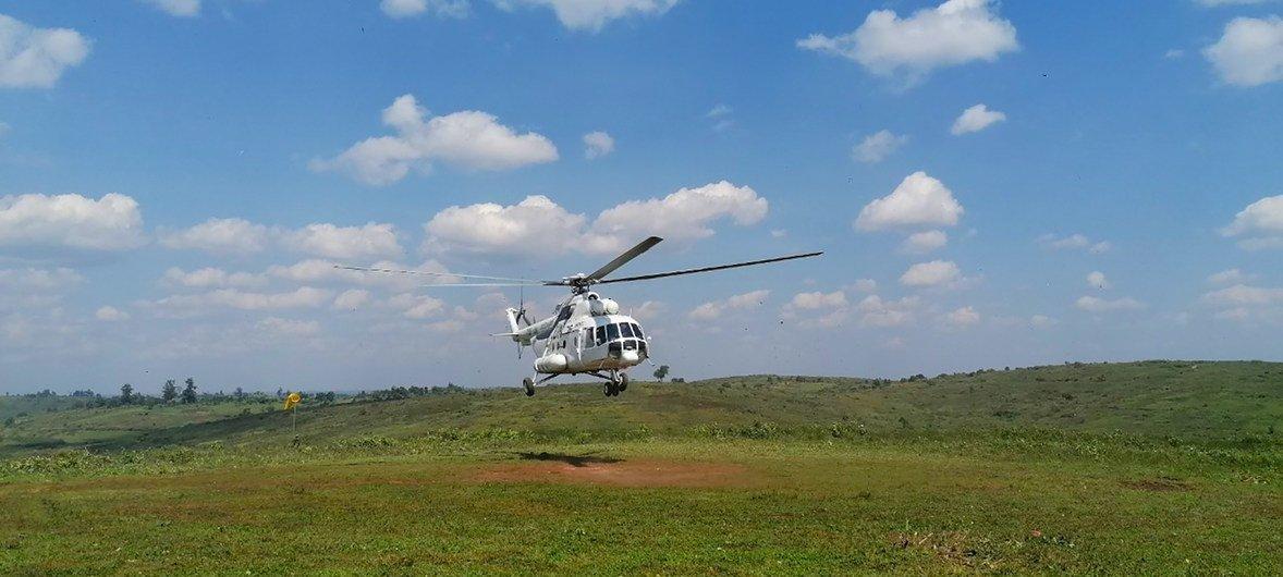 Вертолет с сотрудниками ООН преземляется в провинции  Итури, где произогло насилие