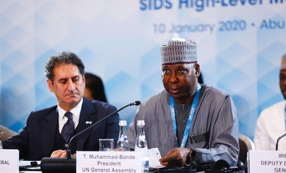 The President of the UN General Assembly, Tijiani Muhammad-Bande, addresses the International Renewable Energy Agency (IRENA) in Abu Dhabi.