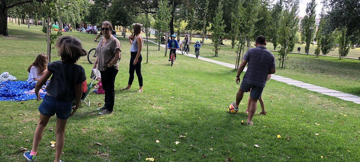 Parque na capital de Portugal, Lisboa, antes da pandemia