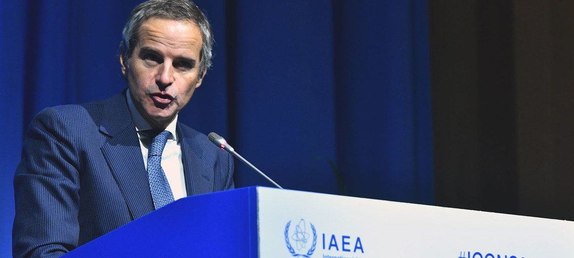 IAEA Director General Rafael Mariano Grossi delivers his remarks at the opening of the International Conference on Nuclear Security ICONS 2020.