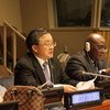2020年2月10日,联合国主管经济和社会事务的副秘书长刘振民(中)在社会发展委员会第五十八届会议开幕式上致辞。