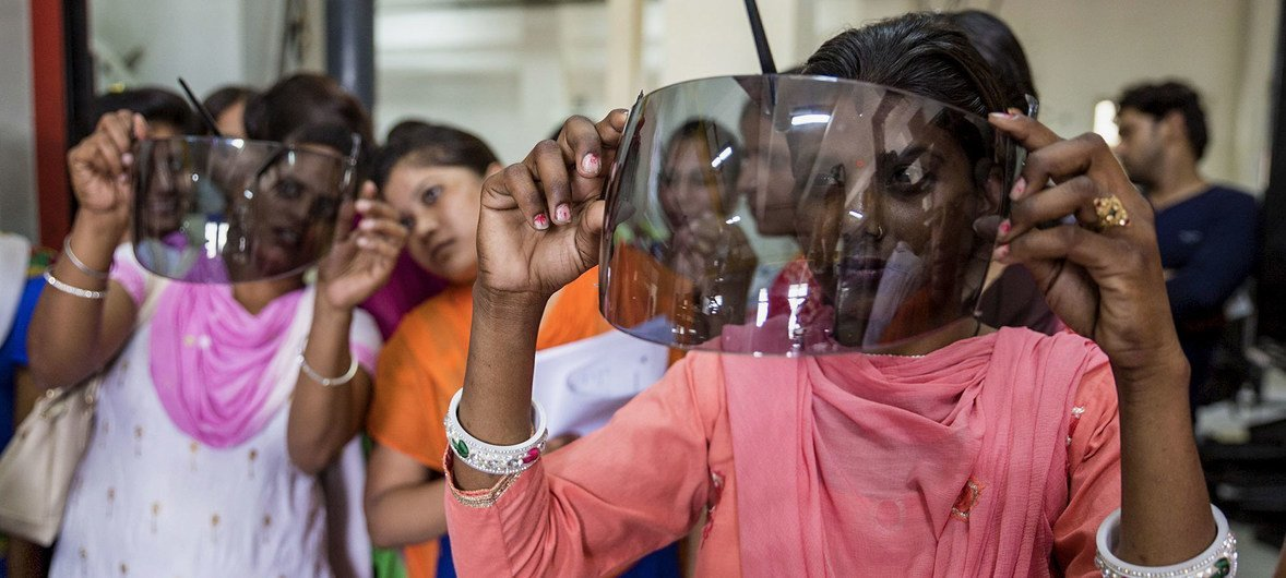 Women in India are being trained in plastic engineering.
