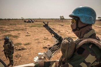 केन्द्रीय माली के मोपती क्षेत्र में गश्त पर यूएन शान्तिरक्षक.