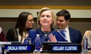Former US Secretary of State, Hillary Clinton, addresses the Group of Friends of Afghanistan meeting at UN Headquarters.