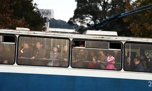 Commuters travel to work by bus in the North Korean capital, Pyongyang. (file)