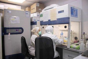 المختبر المركزي في دمشق وهو المختبر الوحيد الذي يقوم باختبار كوفيد-19 حتى الآن في سوريا.