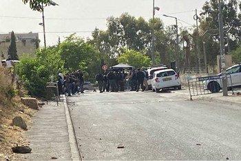 Policía israelí en el barrio de Sheikh Jarrah en Jerusalén oriental, donde las familias palestinas están siendo desalojadas de sus hogares